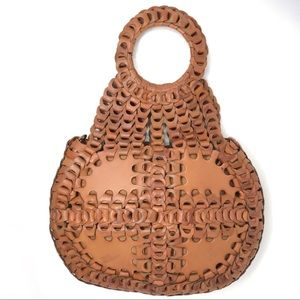 Patricia Nash Leather Pisticci Chainlink Bag Tan